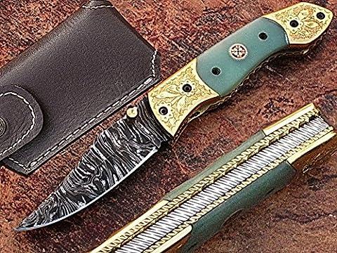 Handgefertigt Damaskus Stahl 18,3cm faltbar Taschenmesser mit Canadian G 10und Gravur Messing Kropf mit Mosaikpin Griff (bdm-1021)
