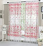 Hukz Peony Sheer Vorhang, Tulle Fensterbehandlung Voile Drape Volant 1 Panel Stoff((L x W): 200cm x 100cm) (Rosa)