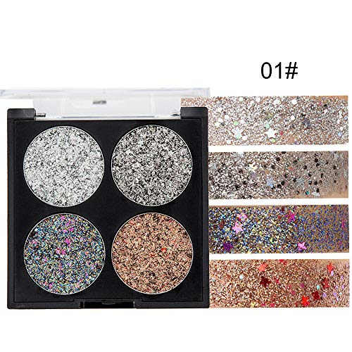 Berrose-4 Farben Lidschatten Glitzer Palette Wasserdichte Glitter Diamant Glitzerstücke Lidschatten