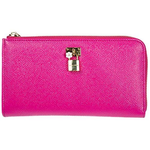 Dolce&Gabbana portafoglio portamonete donna in pelle bifold fucsia