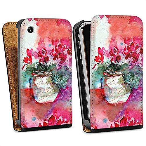 Apple iPhone 5s Housse Étui Protection Coque Tableau Roses Roses Sac Downflip noir
