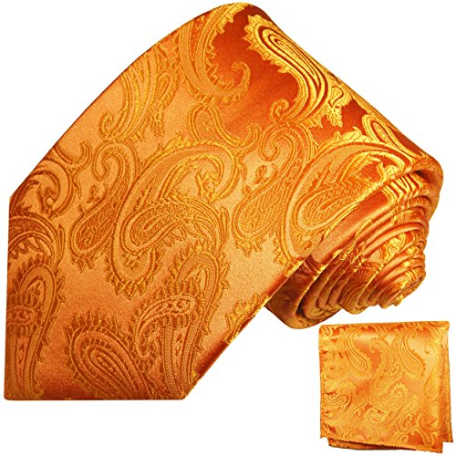Orange Paisley Krawatte (Orange goldenes paisley Krawatten Set 2tlg 100% Seidenkrawatte)