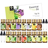 PYRRLA Essential Oils Top 16×5ML 100% Pure Therapeutic Grade Aromatherapy Essential Oil Set with 4 Droppers