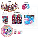 Disney Minnie Mouse Theme Birthday Party Supplies Super Saver Combo (Pink)