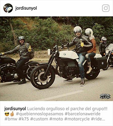 """Retro Schwarz Cafe Racer die """"Bonnie"""" 100% Bovine Leder Motorrad-Jacke CE Armoured–Elfenbein Streifen Gr. xl, Schwarz - Schwarz"""