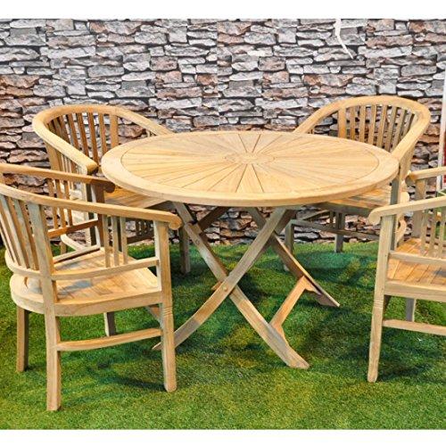 Table ronde en teck Sunrise complète avec 4 chaises