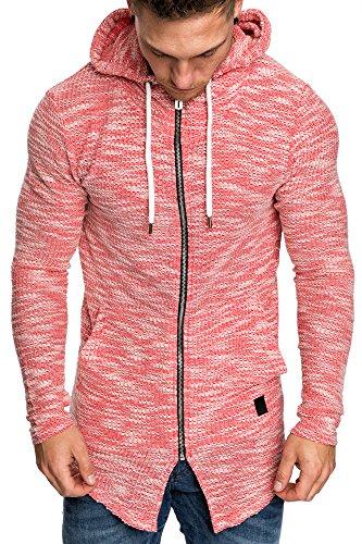 Amaci&Sons Herren Oversize Hochkragen Kapuzenpullover Jacke Sweatshirt Hoodie Sweatjacke Pullover 4015 Rot M - 3