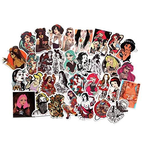 fngeen Sexy Frauen Aufkleber Pack [50] Laptop Aufkleber Bomb Beauty Pinup Mädchen Sticker und Aufkleber Vintage Retro Aufkleber für Gepäck, Skateboard, Telefon Case Bike Bumper Sexy Stickers-1