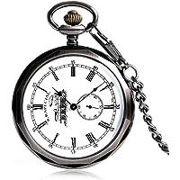 Orologio da tasca da uomo, classico, in rame, meccanico, a vento, da uomo, stile antico, orologio da tasca