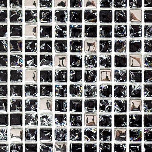 Mosaik Fliese Transluzent schwarz silber Glasmosaik Crystal EP schwarz silber für WAND BAD WC DUSCHE KÜCHE FLIESENSPIEGEL THEKENVERKLEIDUNG BADEWANNENVERKLEIDUNG Mosaikmatte Mosaikplatte