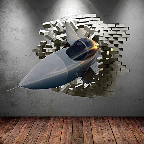 Wall Smart Designs Army Fighter Jet Flugzeug gebrochenen Bricks 3D Wandtattoo Urban Aufkleber Jungen Art Wandbild Transfer - Brick Graphics Wall