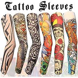 Ruiuzi Tattoo Sleeves Arm, 6 Stück Unisex dünne Nylon Tattoo Ärmel Sleeve Temporäre Tätowierung anziehen, Sonne absorbiert schweiß (Tätowierung, 6 Pack)