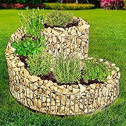 BRAST Gabione Kräuterspirale 52,5x42,5cm Kräuter-Beet Kräuter-Schnecke Hochbeet Terrasse Natur