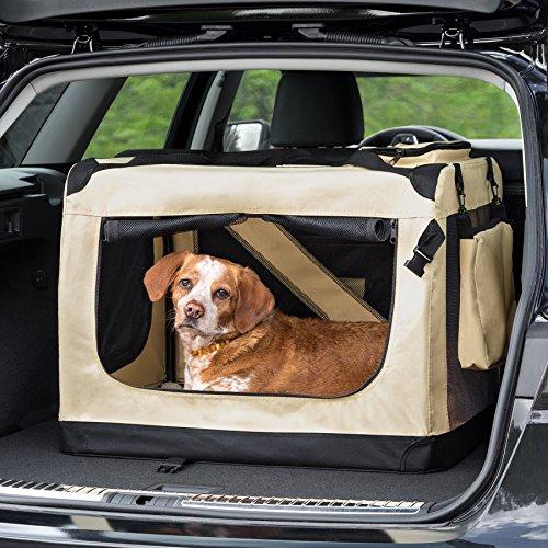 "TecTake Faltbare Hundetransportbox Transportbox beige 60x42x43cm ""M"" - 2"
