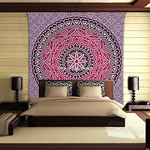 Stylo Culture Coeur Mur Pendentif Coton Violet Rose Rose Imprimé Floral Mandala Tapisserie Literie