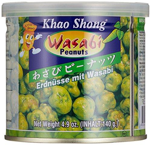 Khao Shong Erdnüsse Scharf mit Wasabi, 6er Pack (6 x 140 g Dose) (Süßigkeiten Nüsse Und)