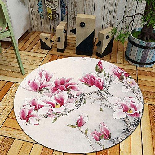 Chinesische runden Teppich moderner, minimalistischer Wohnzimmer Schlafzimmer Bett decke Studie Garderobe hängenden Korb computer schwenken Fußmatte, 80 cm im Durchmesser, Magnolia Blumen, (Chinesische Teppich)