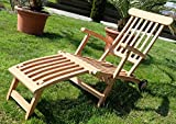 Hochwertiger TEAK STEAMER DECKCHAIR Deckstuhl Liegestuhl Sonnenliege Gartenliege Relaxsessel Holz mit Rädern Modell: LUNA von AS-S