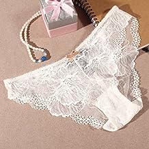 ZMZX*Tentation dentelle transparent sous-vêtement femme de bon sens ont lancé 3 Pantalon pur coton angle respirabilité civil ,M, blanc