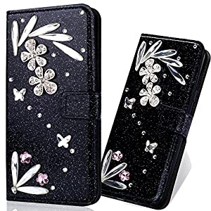 Bling Glitter Glitzer Diamond Ledertasche Bookstyle Hülle für iPhone X