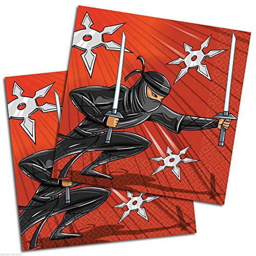 ninja-warrior-lot-de-16-serviettes-en-papier-ideal-pour-fete-danniversaire