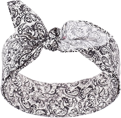 Küstenluder Damen Haarband Almy Paisley Bandana Weiß mit schwarzem Paisleymuster 53cm x 53cm (Pin-up Bandana)