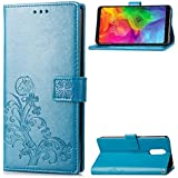 LG Q7 Protector Leather Covers Danallc Protective Skin Double Layer Bumper Shell Shockproof Impact Defender Protective Case Protector for LG Q7, Blue