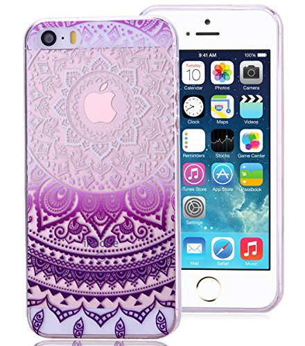 Roreikes Coque pour Apple iPhone 5 5S SE, Crystal Case Cover Silicone TPU avec Indian Sun Conception de couverture de cas couvertures clair transparent peau de couverture de protection de coque de protection pour Apple iPhone 5 5S SE - Pourpre