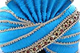 Egypt Bazar Indischer Maharaja-Turban- Paghdi Herren Fasching Bollywood Kopfbedeckung, Farbe: türkis
