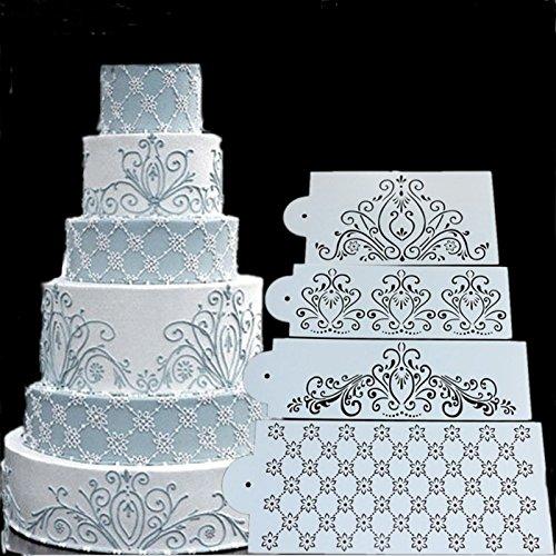 September-Europe 4 pezzi stencil spray per torte, motivo a fiori, per fondente, pasta di zucchero, glassa, modello per decorazione torta nuziale e dessert vari
