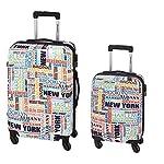 Reisekoffer-Set 2-teilig 4 Rollen Trolley Koffer Hartschale NEW YORK Bunt Leicht mit Kofferschloss