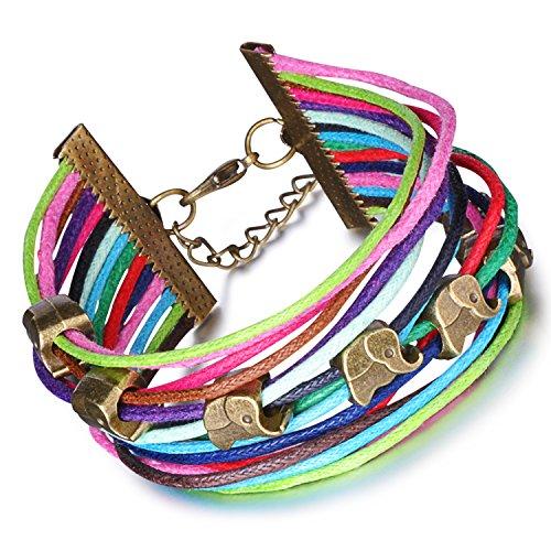 Stayoung Schmuck Multilayer Verstellbar Armband, Thai Elefant Thailand, Triple Strands Glücklich Charms Wrap , -