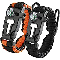 iRainy 2Pack Adjustable Survival Paracord Bracelet W Flint Fire Starter Scraper Compass Whistle Fits Men Women Kids for Hiking,Camping,Boating Emergency or Other Outdoor Activities