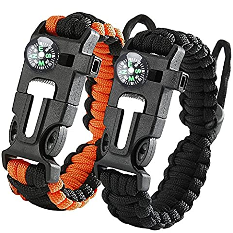 iRainy [2PACK] Adjustable Survival Paracord Bracelet W Fire Starter Scraper Compass Whistle for Hiking Camping Emergency, Pack of 2