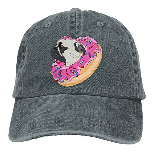 Pug Dog Donut Denim Hat Adjustable Men Plain Baseball Caps (Hat Dog Tag)