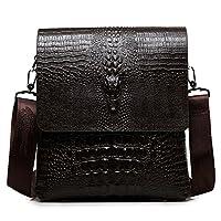 MYMYU mens bolso de hombro cruzado de cuero genuino del cuerpo del negocio bolso de la cartera del mensajero con el patrón de cocodrilo (Marrón)