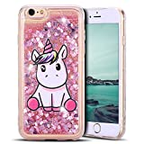 Mosoris Coque iPhone 6S Glitter Liquide Cover Mode 3D TPU Etui Licorne iPhone 6 Transparent Souple Silicone Etui Housse Bling Paillettes Flowing Sand Case pour iPhone 6 / 6S, Rose