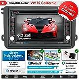 2DIN Autoradio CREATONE V-336DG für VW T5 California (ab Facelift 09/2009) mit GPS Navigation (Europa Karten 2018), Bluetooth, Touchscreen, DVD-Player und USB/SD-Funktion