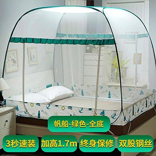 Mayihang Moskitonetz Mongolei Tasche Moskitonetz Kostenlos 1,2 Meter Falten 1.5 Drei offenen Reißverschluss 1,8 m Doppelbett Haushalt, Yachtcharter Grün Alle unteren, 1,5 m (5 Fuß) Bett