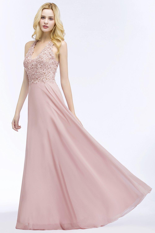 MisShow Damen Elegant Unregelm/ä/ßig Brautjungfern Kleid Neckholder Chiffon Abendkleid Maxilang 32-46