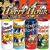 Silvester Tischfeuerwerk Set 4-tlg.: Tischbomben mit Konfetti und Überraschungsinhalt - Partyknaller Feuerwerk Happy Hour