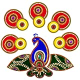 Handicraft Designer Acrylic Peacock Rangoli - Jewel Stone Decorations Of Golden, White, Pink, Purple, White Accents Tulip Motifs With Center Piece - 14 Inch Rangoli - 14 Piece Set - Packed In Sturdy Box