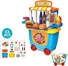 ToysCentral Barbecue House Pretend Play Toy Set, 33Pcs BBQ Kit with Tableware in a Wheel Cart Carry Case