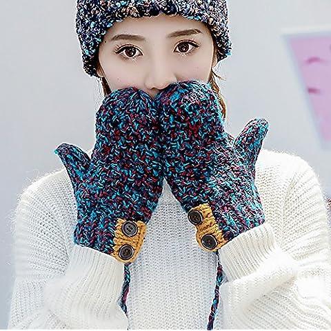 Versione coreana di guanti di lana tessuti a mano versione femminile dei pulsanti colore d'attaccatura collo e giù per tenere in caldo , blue
