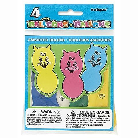 Unique Party - 5149 - Paquet de 4 Ballons Animaux - Latex