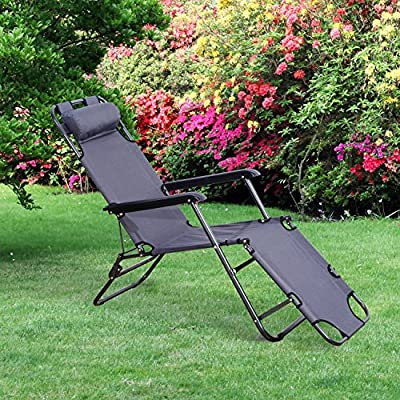 Tumbona Inclinable Acero Plegable + Almohada Playa Camping Piscina Hamaca Gris