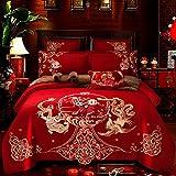 CDSITHH 100% Baumwolle Der große Tag der Hochzeit Bettwäsche Set Stickerei Bettbezug Bettlaken Kissenbezüge Größe 4/6 / 7Pcs @ Kne1_King_Size_7Pcs