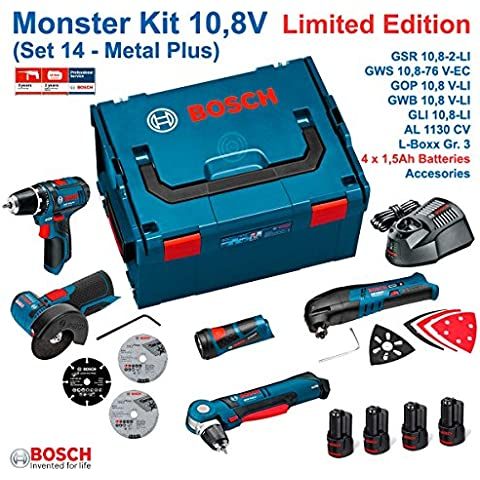 BOSCH MONSTER KIT 10,8V - SET 14 METAL: GSR 10,8-2-LI