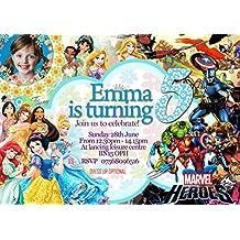 16–Invitaciones Fiesta de cumpleaños princesas Disney + Super Hero + sobres, 16
