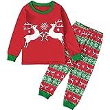 MEIbax (2-7Y) Niño Chica Camiseta de Manga Larga Camiseta + Ciervo de Navidad Pantalones Conjunto de Navidad Ropa para el hog